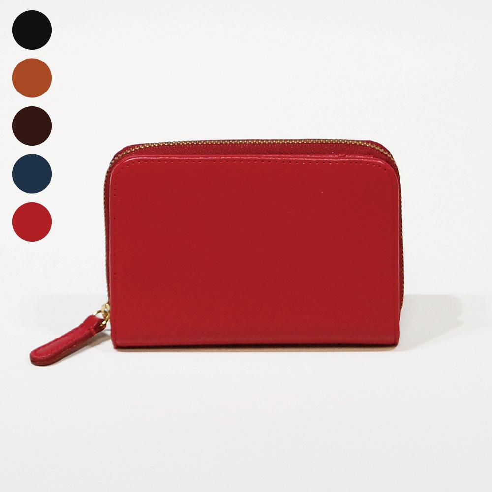 画像1: オリーブレザー ラウンドファスナー短財布 (1)